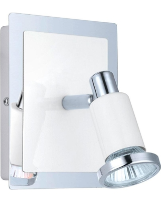 EGLO Eridan 1-Light Chrome and Glossy White Surface Mount Wall Light with On/Off Switch