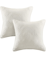 "Ivory Vancouver Microfiber Quilted Throw Pillow Pair (20""x20"")"