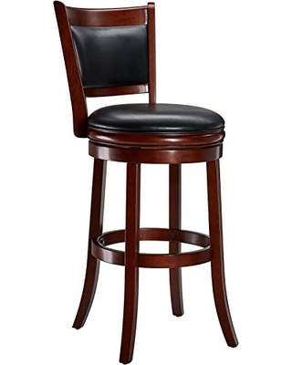 Ball & Cast Jayden Wooden Swivel Bar Stool with Faux-Leather Upholstery - 29 Inch Seat Height, Cherry
