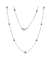Noray Designs 14k White Gold 1/2ct TGW Blue Sapphire by the Yard 10 Station Necklace (0.50 Ct Blue Sapphire, 14K White Gold)