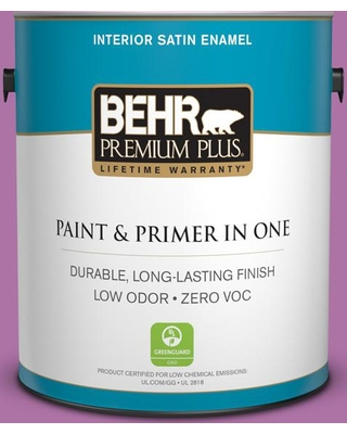 BEHR Premium Plus 1 gal. #670B-6 Orchid Kiss Satin Enamel Low Odor Interior Paint and Primer in One