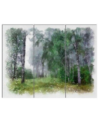 Design Art 'Green Forest Watercolor Drawing' 3 Piece Photographic Print on Wrapped Canvas Set PT13729-3P