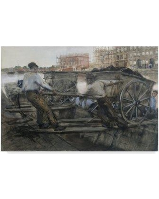 """Trademark Art 'Laborers Pulling a Cart' Oil Painting Print on Wrapped Canvas BL02127-CGG Size: 30"""" H x 47"""" W x 2"""" D"""
