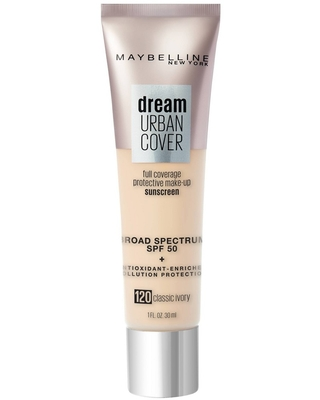 Maybelline Dream Urban Cover Full Coverage Foundation SPF 50 with Antioxidant Enriched + Pollution Protection - 120 Classic Ivory - 1 fl oz