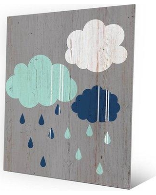 """Click Wall Art 'Chromatic Rainy Day on Wood' Graphic Art on Plaque GPN0000111MTL Size: 14"""" H x 11"""" W x 1"""" D"""