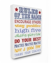 """Stupell Industries The Kids Room Rules of the Game Blue and Red Typography Canvas Wall Art, 16"""" x 20"""" - Multi"""
