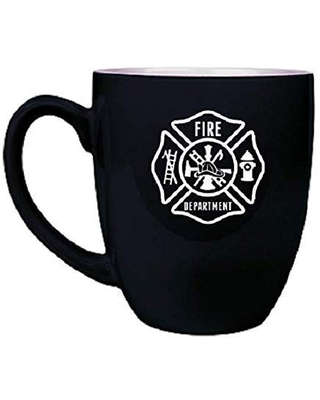 Firefighter Laser Engraved Design 16 ounce Coffee Mug made of Ceramic Custom Engraved with Choices of Color, Design, Text and Font