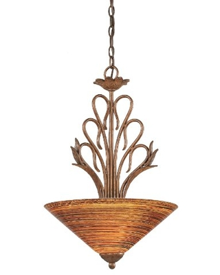 Toltec Lighting 204-BRZ-414 Swan Three-Light Uplight Pendant Bronze Finish with Firré Saturn Glass Shade, 16-Inch