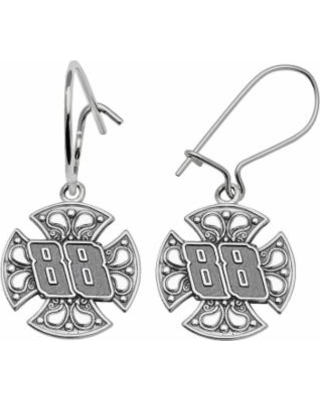 Insignia Collection Nascar Dale Earnhardt Jr Sterling Silver 88 Maltese Cross Drop Earrings Women S
