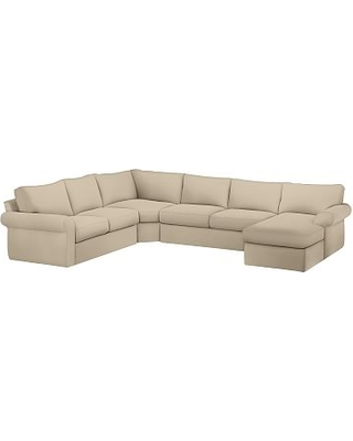 Pearce Roll Arm Slipcovered Left Arm 4-Piece Wedge Sectional, Down Blend Wrapped Cushions, Performance Everydayvelvet(TM) Buckwheat
