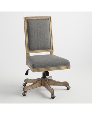 Charcoal Gray Linen Square Back Paige Home Office Chair by World Market