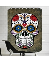 East Urban Home Floral Horror Skull Gothic Shower Curtain ESRB1015 Color: White