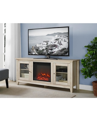 Walker Edison Furniture Company 58 in. Wood Media TV Stand Console Electric Fireplace in White Oak
