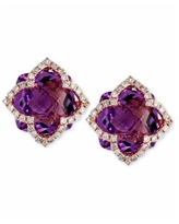Lavender Rose by Effy Amethyst (6-1/4 ct. t.w.) and Diamond (1/3 ct. t.w.) Clover Stud Earrings in 14k Rose Gold