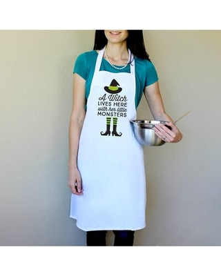 100% Cotton A Witch Lives Here With Her Little Monsters Apron Color: Green