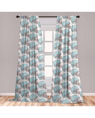 Ambesonne American Football Curtains, Sketchy Style Safety Protection Vintage Pattern American Athletics, Window Treatments 2 Panel Set For Living Roo