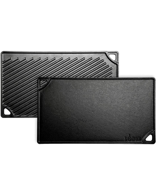 Lodge 16.75 in. x 9.5 in. Black Cast Iron Reversible Stovetop Griddle