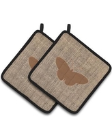 East Urban Home Butterfly Quilted Black Trim Gray Potholder EAAS4465 Color: Brown