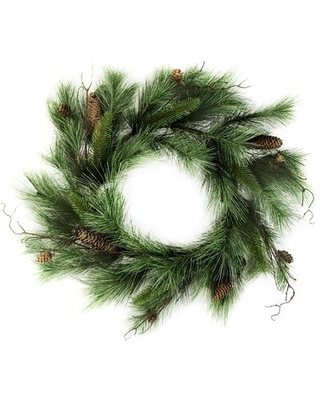 """Platon Round Artificial Mixed 24"""" Pine and Cone Wreath"""