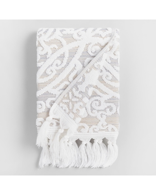 Taupe Medallion Scarlett Sculpted Hand Towel: Gray - Cotton by World Market