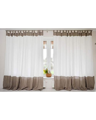 Sales For Color Block Linen Curtain Available Short And Extra Long Living Dining Room Drapes