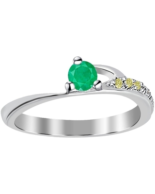Emerald, Diamond Sterling Silver Round Halo Ring By Essence Jewelry (6 - Emerald)