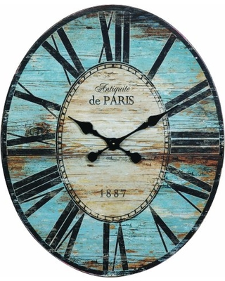 """Creative Co-op Distressed Wood Wall Clock, 29"""" Oval, Turquoise"""