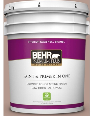 BEHR Premium Plus 5 gal. #MQ1-55 Lite Cocoa Eggshell Enamel Low Odor Interior Paint and Primer in One
