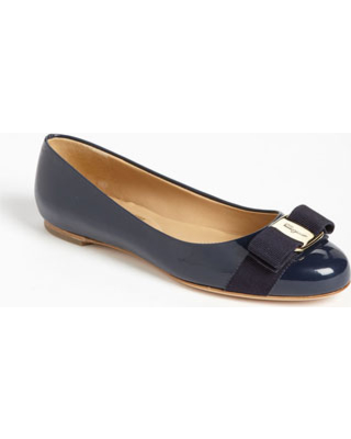 Women's Salvatore Ferragamo Varina Leather Flat, Size 5.5 B - Blue