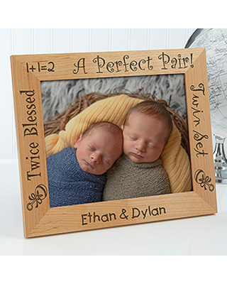 Personalized Twins Wood Picture Frame - A Perfect Pair - 8x10