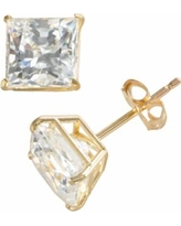 Renaissance Collection 10k Gold 1 4/5-ct. T.W. Cubic Zirconia Princess Stud Earrings - Made with Swarovski Zirconia, Women's, White