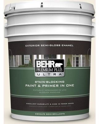 BEHR ULTRA 5 gal. #W-D-300 Eggshell Cream Semi-Gloss Enamel Exterior Paint and Primer in One