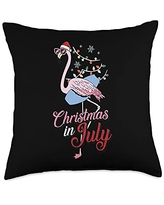 Christmas In July Cloths Summer Vacation Gifts Flamingo Christmas In July Cool Tropical Bird Beach Summer Throw Pillow, 18x18, Multicolor