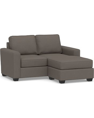 SoMa Fremont Square Arm Upholstered Sofa with Reversible Chaise Sectional, Polyester Wrapped Cushions, Performance Heathered Tweed Graphite