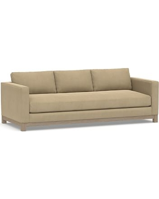 """Jake Upholstered Grand Sofa 95"""" with Wood Legs, Polyester Wrapped Cushions, Performance Everydaysuede(TM) Light Wheat"""