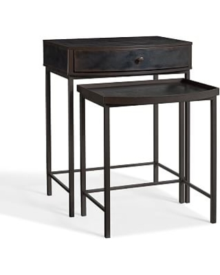 Elegant Woodrow Metal Nightstand Nesting Table, Dark Bronze Finish