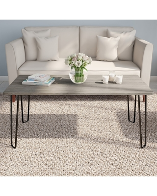 Carbon Loft Malory Woodgrain Coffee Table with Hairpin Legs