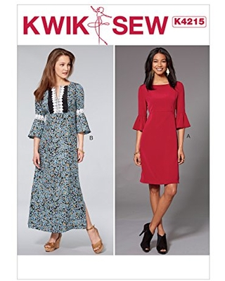 KWIK-SEW PATTERNS Misses' Dresses With Flounce Sleeves Sewing Pattern, XS-S-M-L-XL