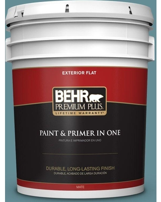 BEHR Premium Plus 5 gal. #S450-5 Oarsman Blue Flat Exterior Paint and Primer in One