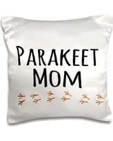 East Urban Home Parakeet Mom for Girl Bird Lovers Female Pet Owners Parrot w/ Footprints Pillow CoverPolyester/Polyester blend in Black/White