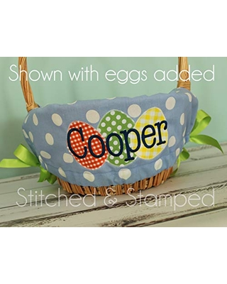Personalized Easter Basket Liner - Light Blue Polka Dot - Personalized with Name