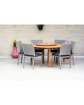 Amazonia Alford 7-Piece Wood Round Outdoor Dining Set with Gray Cushions