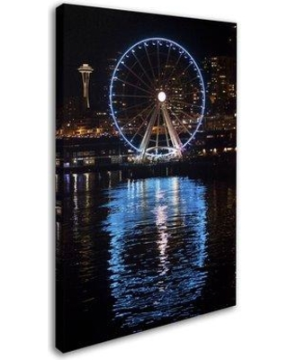 "Trademark Fine Art 'Seattle Waterfront at Night' Photographic Print on Wrapped Canvas YG7234-C Size: 19"" H x 12"" W x 2"" D"