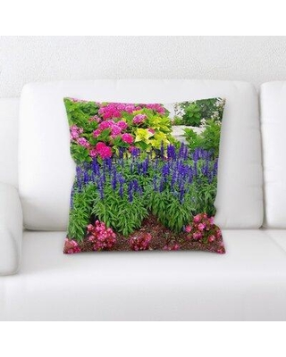 """East Urban Home Sharp Colors Throw Pillow, Microsuede/Cotton in Pink, Size 18X18"""" 