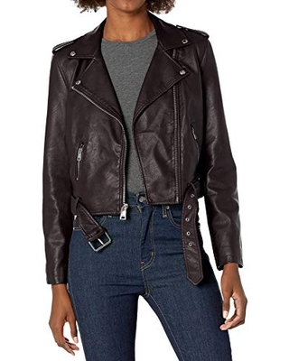 Levi's Women's Faux Leather Belted Motorcycle Jacket (Standard and Plus Sizes), Deep Purple, 2X