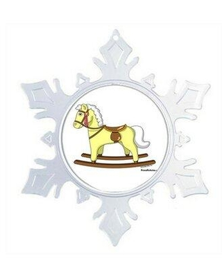 The Holiday Aisle Personalized Friendly Folks Cartoon Snowflake Rocking Horse Christmas Holiday Shaped Ornament X111737813