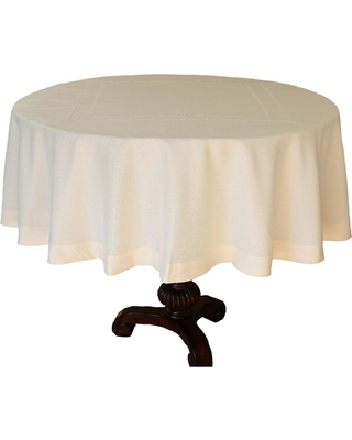 Xia Home Fashions 70 in. Handmade Double Hemstitch Easy Care Round Tablecloth in Ivory