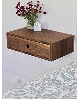 Floating Nightstand with Drawer in Solid Walnut