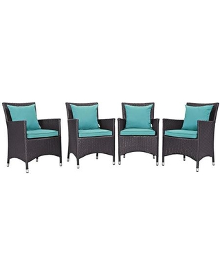 Convene Collection EEI-2190-EXP-TRQ-SET 4 PC Outdoor Patio Dining Set with Synthetic Rattan Weave Powder Coated Aluminum Frame Fabric Seat Cushions