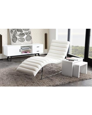 """Bardot BARDOTCAWH 58"""" Chaise Lounge with Channel Tufted Design Sensuous Curves Stainless Steel Frame and Bonded Leather Upholstery in White"""
